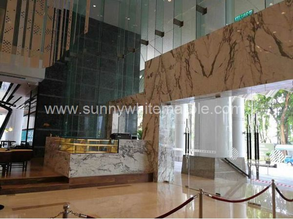 Sunny White Marble Book Match Wall Paver (4)